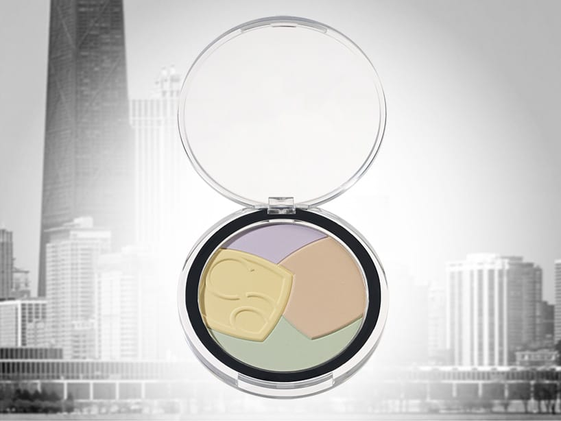 Face powder compact 74 mm, domed lid, standard and customisation